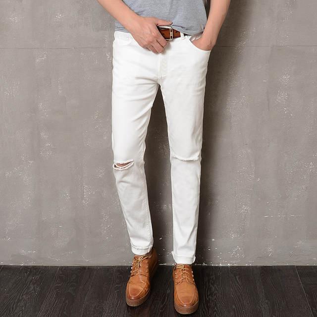 a622200e placeholder Calças Dos Homens Na Altura Do Joelho Holes Ripped Skinny Jeans  Homens Calça Estilo Coreano a