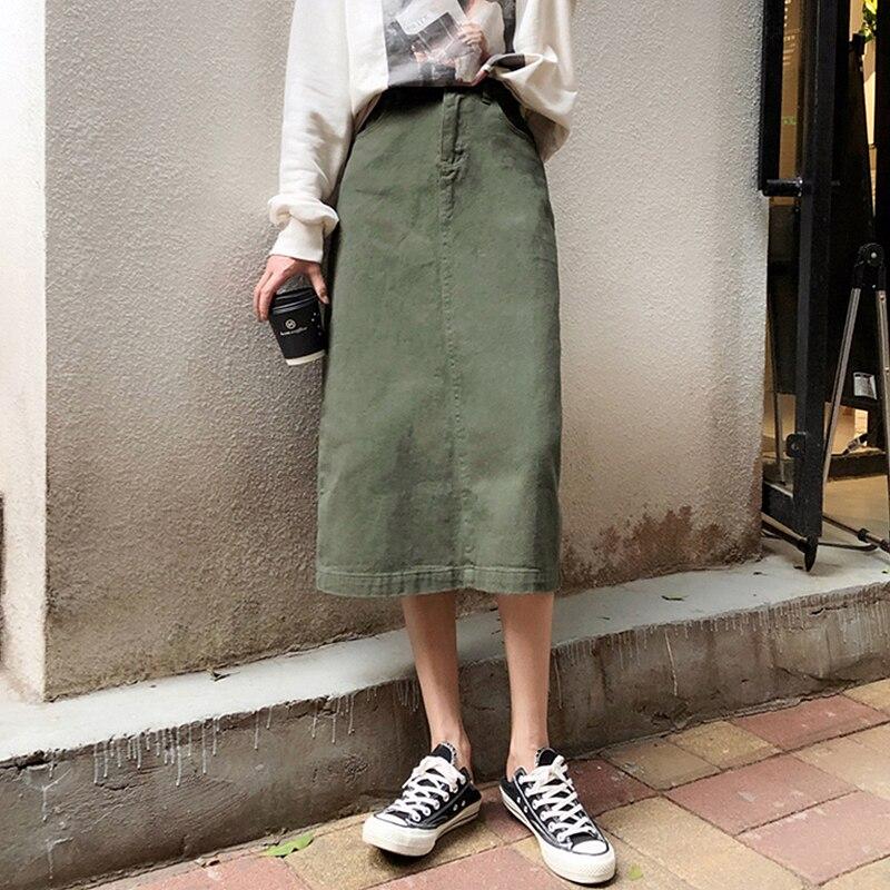 2019 Summer Green Denim Skirts Womens High Waist Plus Size Split Pockets Long Jeans Skirt Ladies Casual A-line Midi Skirt Faldas
