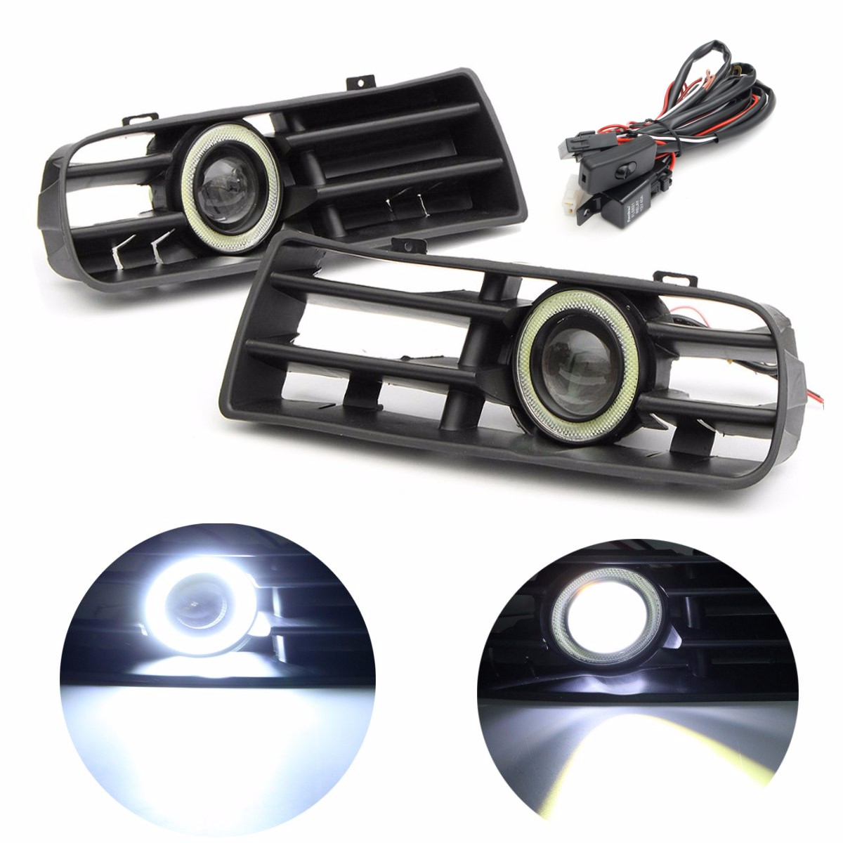 2x LED Fog Lights Angel Eyes Lamp Front Bumper Grille Grill Cover Foglight Kit For VW Golf MK4 98-04 for vw golf gti tdi r32 mk4 1998 2004 front bumper grill with led angel eyes fog lights switch wiring kit 9443