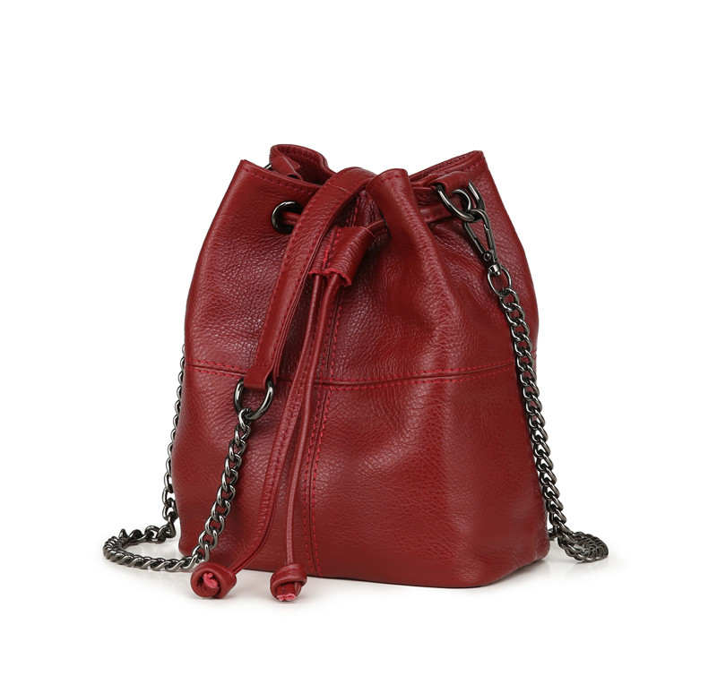 MJ Genuine Leather Women Bag Chain Crossbody Handbag Female Real Cow Leather Bucket Shoulder Bags Small Messenger Bag for Girls (14)