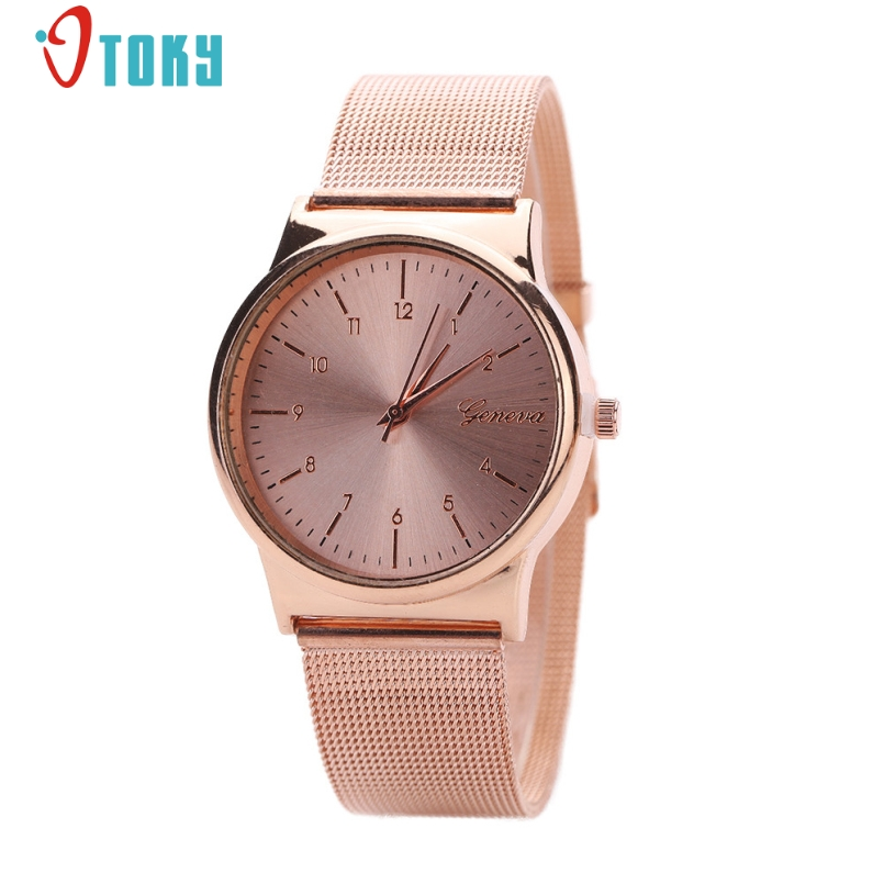Excellent Quality 2017 Luxury Fashion Women Ladies Watches Gold Stailess Steel Roman Numerals Analog Quartz Wrist Watch Jan-11