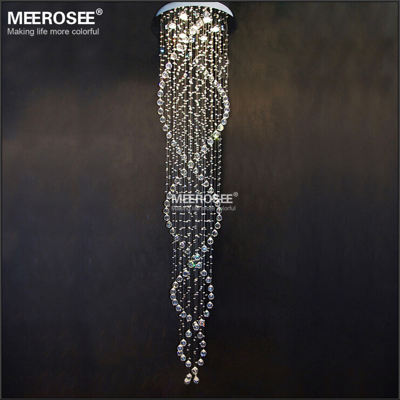 Long design Crystal Ceiling Light fixture spiral lustres light fitting flush mounted Crystal Stair foyer stairs lobby Lamp