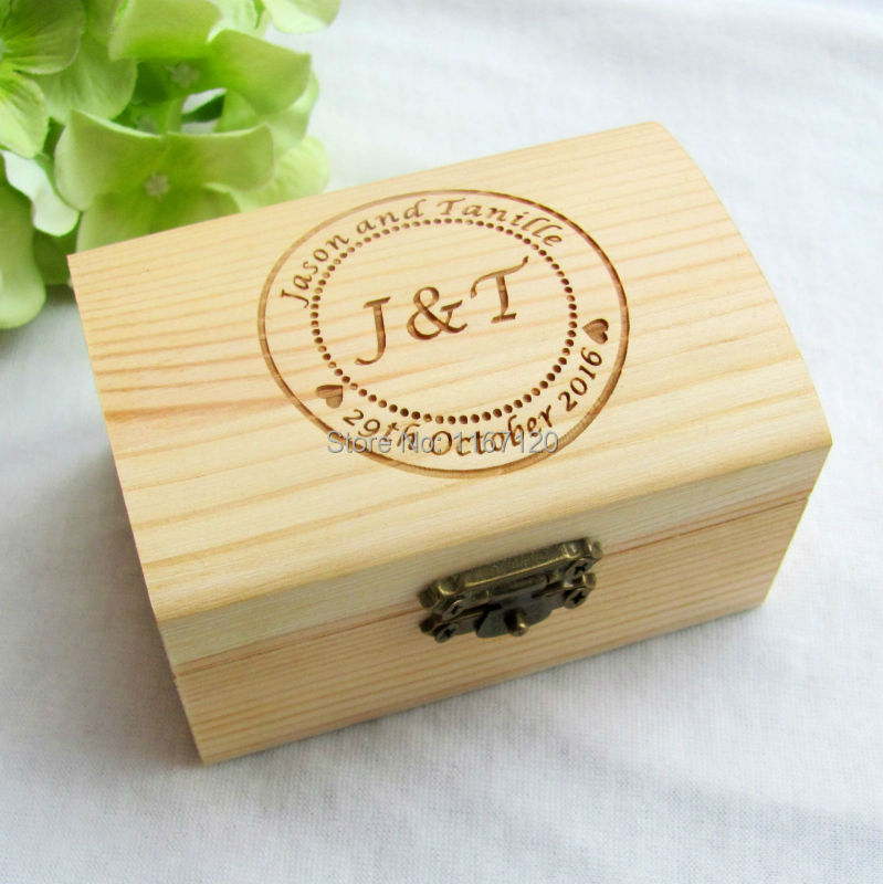 personalized rustic gift wedding ring bearer box custom your names and date engrave wood wedding ring - Wedding Ring Boxes