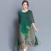 Новое Стильное весенне-летнее качественное женское платье большого размера, свободное платье с принтом из мягкого материала, платье с рука...