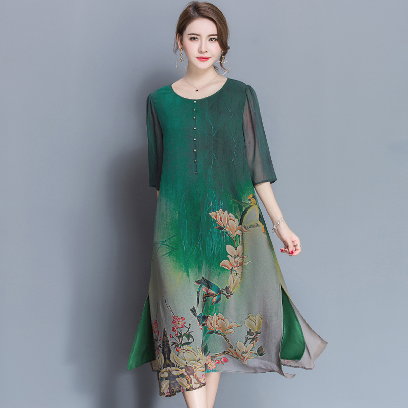 Nouveau Style printemps et été qualité robe femme grande taille lâche imprimer pleine robe matériau doux trois quarts manches robe M-4XL
