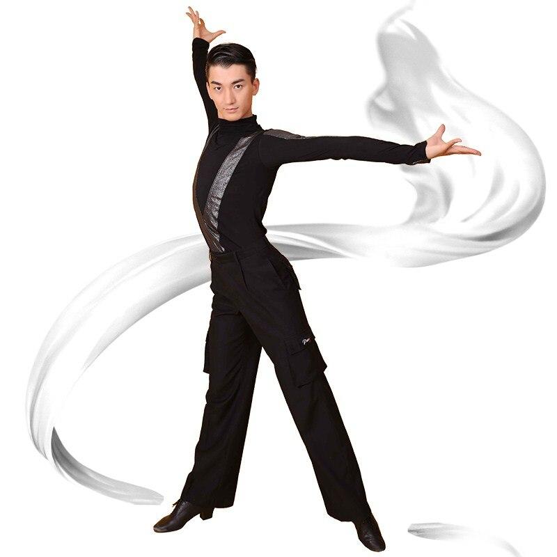 beba117df Hot Sale Latin Dancing Shirts For Males Black Cotton Tops Fashion For Men  Adult Ballroom Vestidos