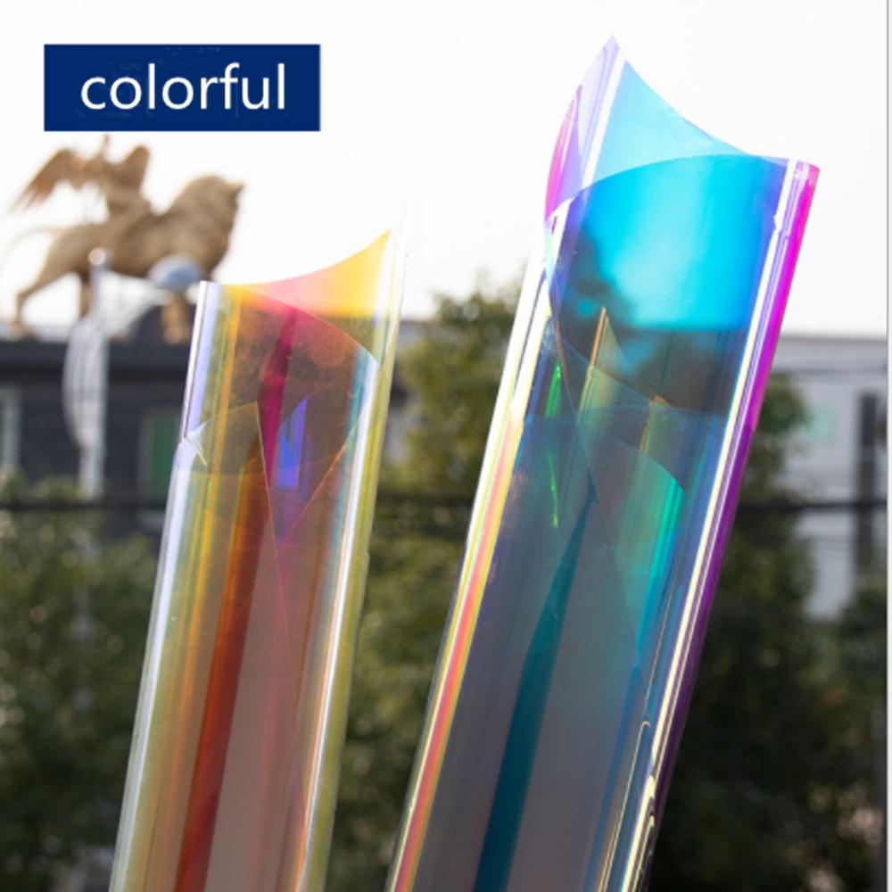 HOHOFILM 1.37x30 m 2 couleurs effet arc-en-ciel dichroïque arc-en-ciel irisé Film de verre Film de fenêtre pour magasin de construction 54''x100ft