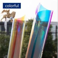 HOHOFILM 1.37x30m 2Colors Rainbow Effect Dichroic Rainbow Iridescent Glass Film Window Film for Building Store 54''x100ft