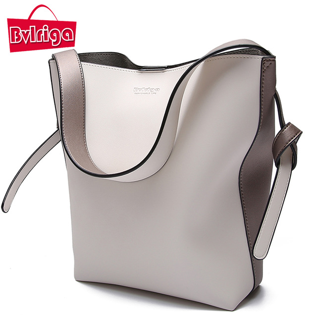 BVLRIGA Brand Luxury Handbags Women Bag Designer Women Leather Bag Female Shoulder Bag Women Messenger Bags Bucket Tote Big 2018 luxury brand design basket bucket tote women day clutches and purses 2pcs composite bag lady handbags rivet women messenger bag
