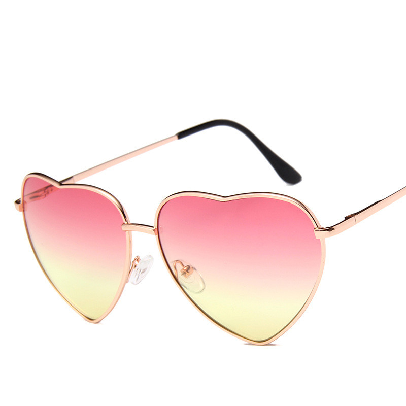 Ladies Heart Shaped Sunglasses metal Women Brand Designer Fashion Rimless LOVE Clear Ocean Lenses Sun Glasses Oculos UV400 in Women 39 s Sunglasses from Apparel Accessories
