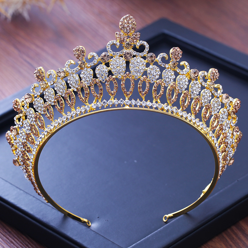 все цены на Baroque Gold Wedding Hair Accessories Hairbands Crystal Headpiece Bridal Tiara And Crowns Queen Princess Wedding Hair Jewelry онлайн