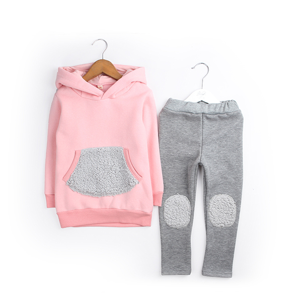 Fashion Lovely Girls Hoodies Thick Warm Kids Hoody Long Sleeve Autumn and Winter 2 Color Children Hoodie Tracksuit Free Shipping