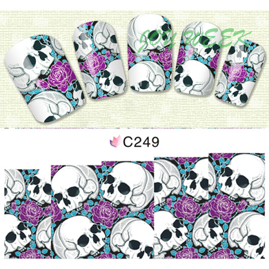 цены  Water Transfer Nails Art Sticker skull Nail Wraps Sticker Fingernails Decals manicure stickers