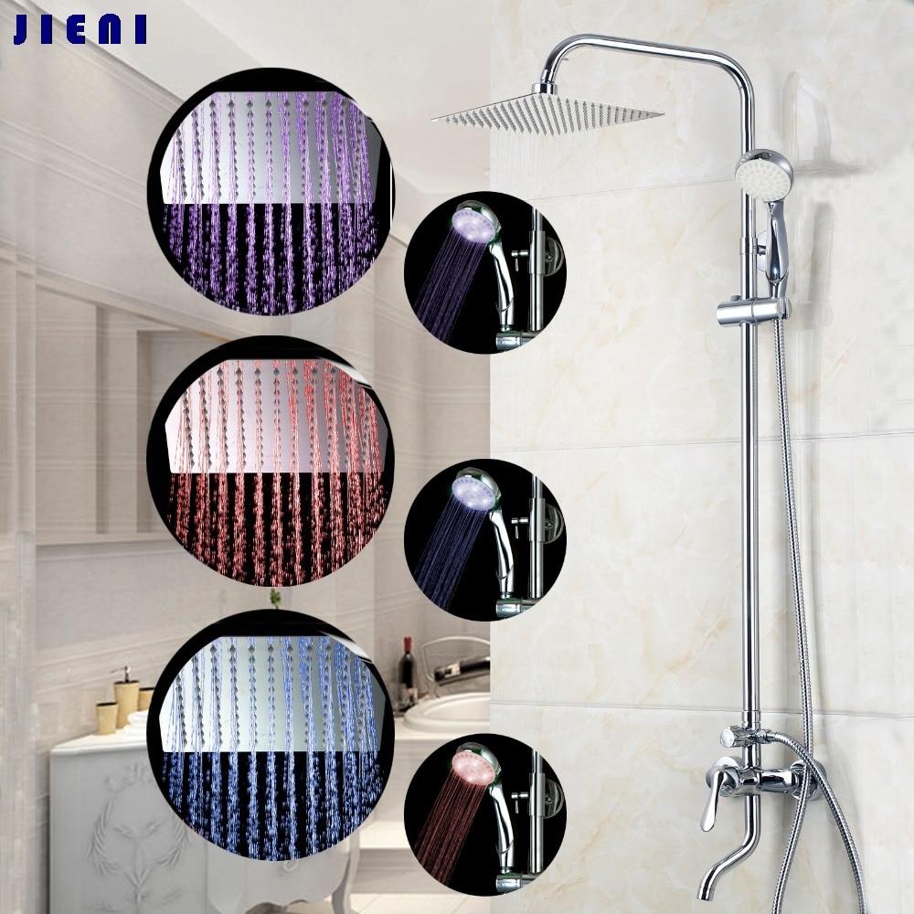 YANKSMART Square Polished Chrome LED Rain Shower Wall Mount for 8 led Shower Head + led hand shower + led bath p yanksmart bath