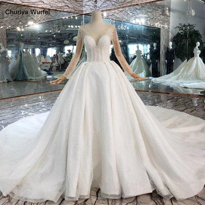 HTL441 robes de mariée occidentales avec illusion de train manches longues robe de mariée en cristal robes de mariée nouvelle robe de mariee de mode