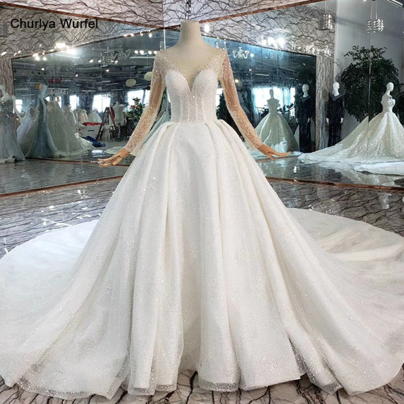 HTL441 Western Wedding Dresses With Train Illusion Long Sleeves Crystal Bridal Dress Up Wedding Gowns New Fashion Robe De Mariee