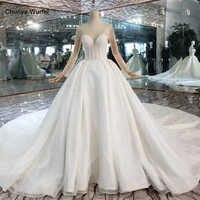 HTL441 westlichen hochzeit kleider mit zug illusion langen ärmeln kristall braut kleid up hochzeit kleider neue mode robe de mariee