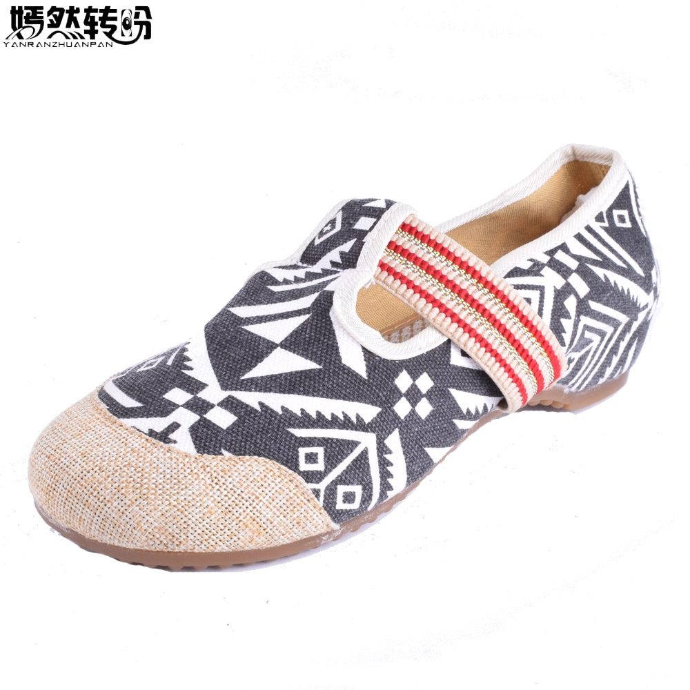 Chinese Women Flats Shoes National Zebra Embroidered Cloth Canvas Soft Dance Ballet Single Shoes Woman Zapatos De Mujer chinese women flats shoes flowers casual embroidery soft sole cloth dance ballet flat shoes woman breathable zapatos mujer