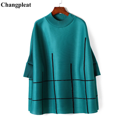 Changpleat 2019 Spring Summer Plaid diamond Women T-shirts Miyak Pleated Loose Large size Bat Sleeve Stand Collar Tops Tide T978
