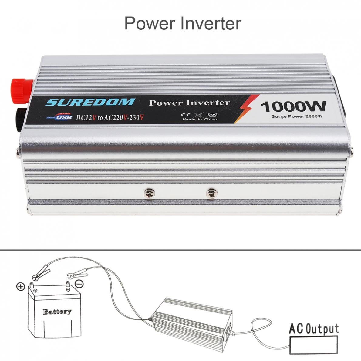 Universal USB <font><b>1000W</b></font> Car <font><b>Power</b></font> <font><b>Inverter</b></font> Watt DC 12V to AC 220V Vehicle Battery Converter <font><b>Power</b></font> Supply On-Board Charger Switch image