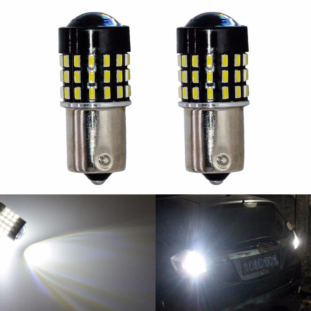 2pcs Led Car Brake Turn Signal Light 3014 54 SMD 1156 BA15S P21W 1157 BAY15D P21/5W 3157 P27/7W 3156 P27W 7440 W21W 7443 W21/5W 2x smd led bulb 3156w smd 48w t25 3156 48smd 3014 led brake light signal turn light bulb white for car free shipping