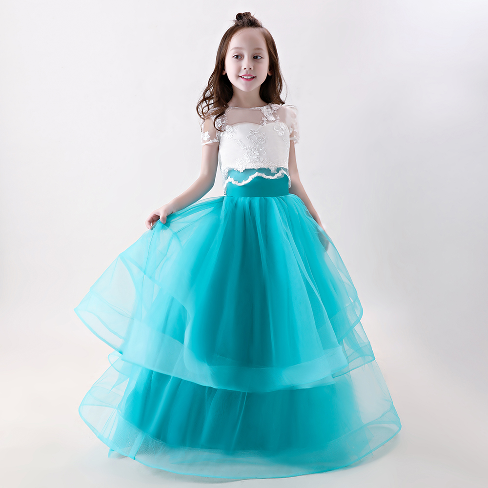 Floor Length Appliques Flower Girl Dresses Ball Gown Kids Wedding Pageant Party Gowns Tulle Mother Daughter Dresses For Girls exaggerate bell sleeve buttoned keyhole dress