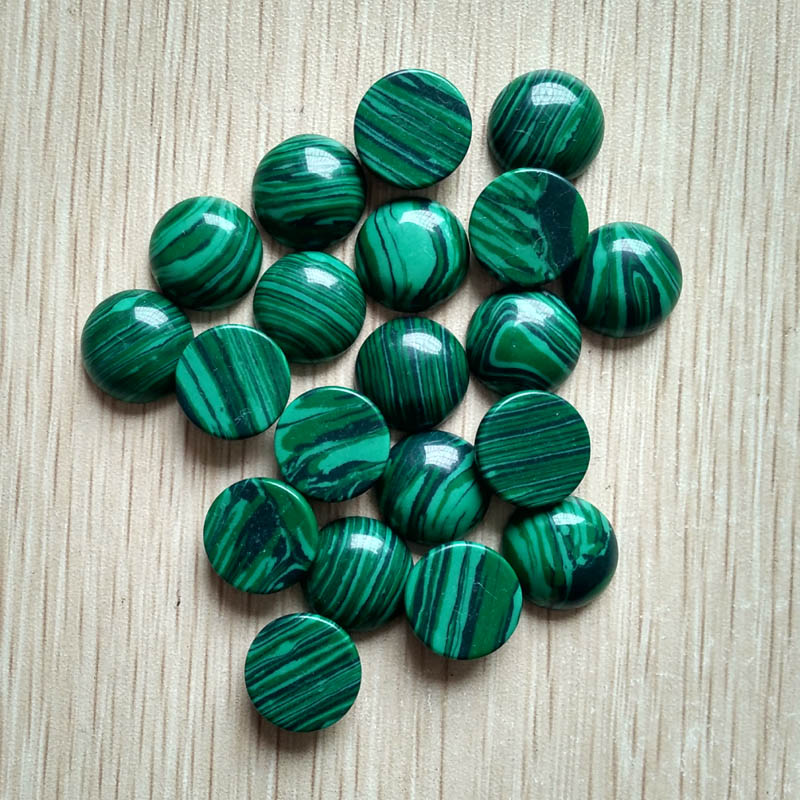 2015 fashion high quality malachite round shape CAB CABOCHON stone beads for jewelry accessory making 14mm wholesale 50pcs free