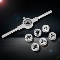 8pcs/set Metric Hss Circular Tap Die Set M3 M4 M5 M6 M8 M10 M12 Screw Thread Plugs Taps with Wrench Broaching Hand Tools Set|m3 m4 m5|set die|metric die set -