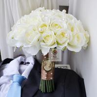 Hand Made Wedding Bridal Bouquet Bridesmaid Flower Wedding White Color Silk Flower Rose Wedding Supplies