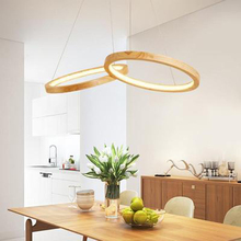 Modern Wooden Art LED Pendant Lights Dining Room Two Round Indoor Deco Lamps Kitchen Fixtures Lighting Luminaire