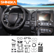 SHINEKA Interior Mouldings For Ford F150 2015+ Carbon Fiber Car Decoration Cover Stickers Kit Accessories