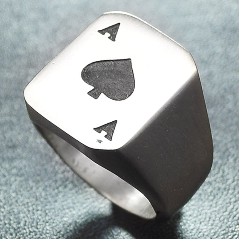 silver color poker Spades A square ring heart,stainless steel brushed men party classical jewelry new arrival CR768
