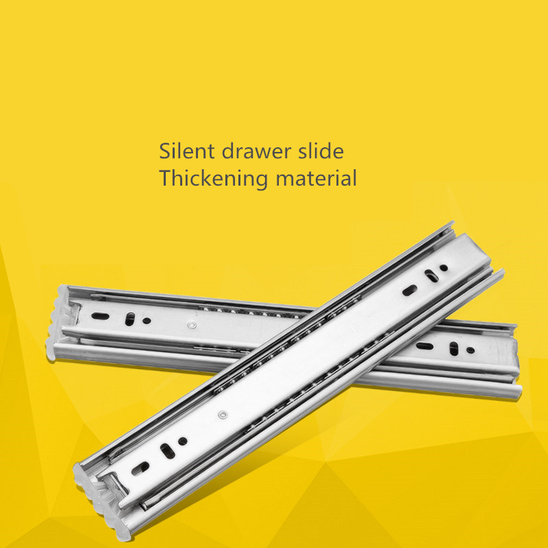 Free shipping, stainless steel mute, ball furniture, wardrobe, three rail, seventy percent off drawer, track slide, slide rail keyboard drawer slide rail slide chute underpinning guide pulley white mute two rail track