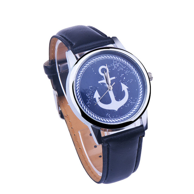 2018 Women watch luxury brand Anchor print analog quart-watch PU leather band Me