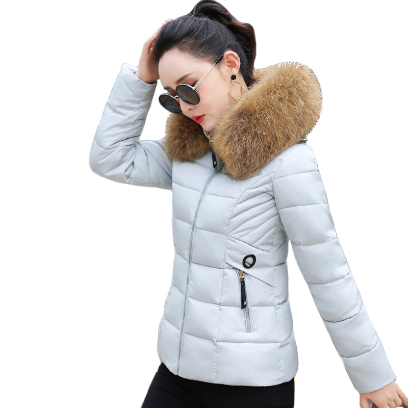 With Fur Hooded Women Winter   Jacket   Hooded Slim Womens   Basic     Jackets   Outwear Female Coat Coats Chaqueta Mujer Invierno