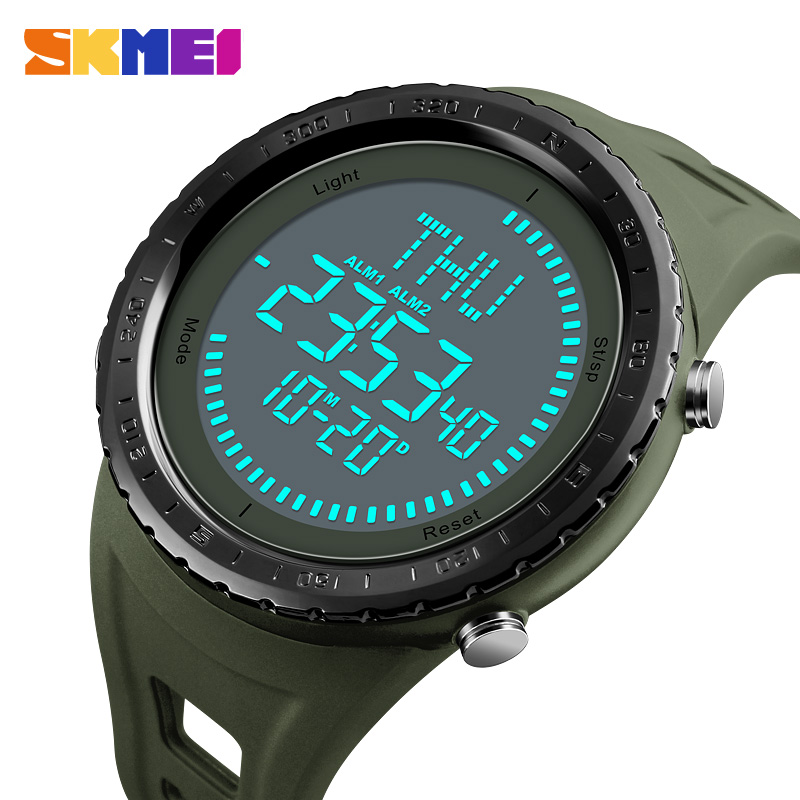 2018 SKMEI NEW Compass Watch Men Sports Watches Outdoor Waterproof Countdown Chronograph Digital Wristwatches Relogio Masculino