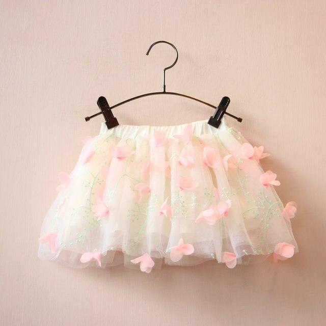 519d541f30d5 2016 Baby Girls Tulle Lace skirts Girl 3D Flower Ruffle skirt Kids ...