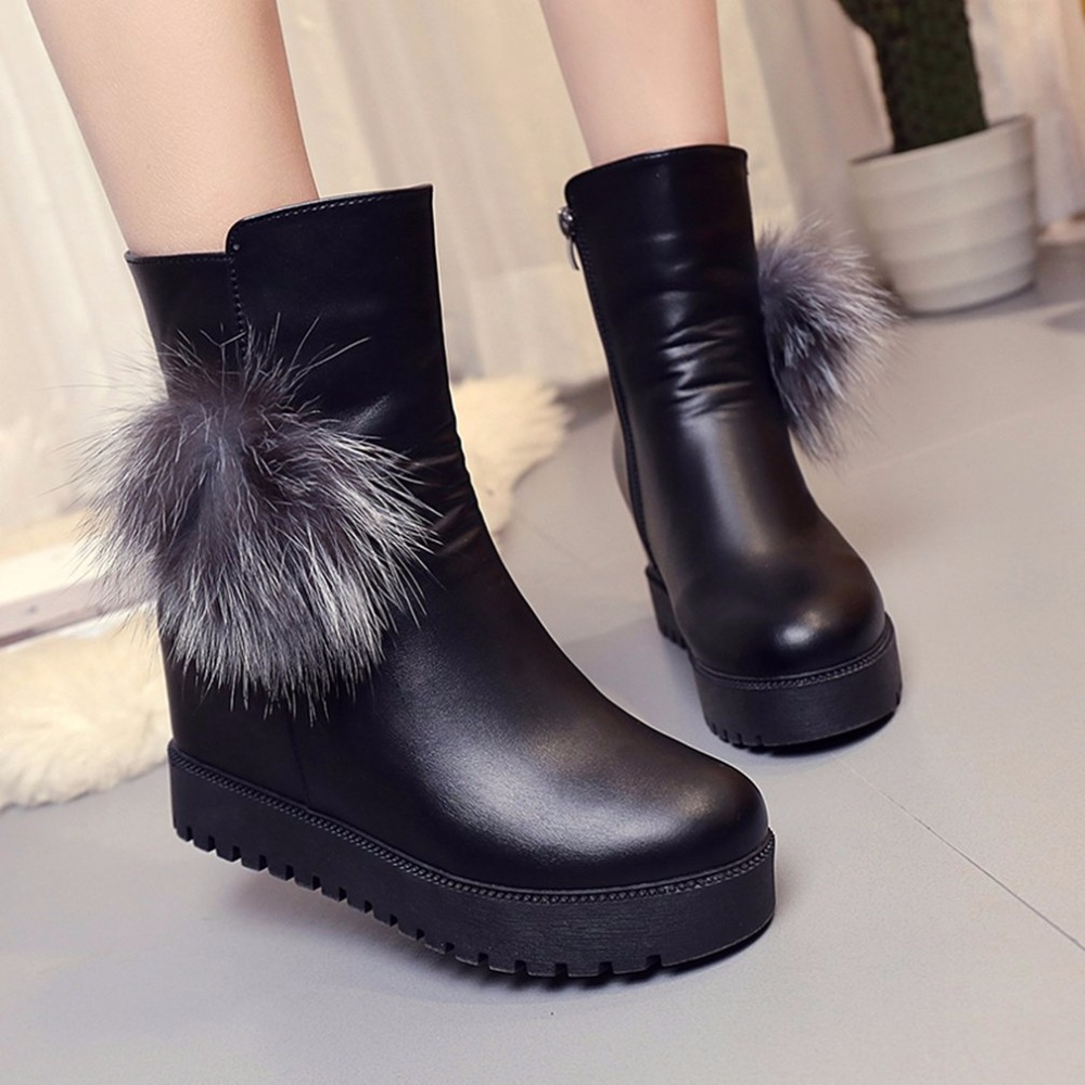 New fashion Women Winter Warm Boots With High Quality For Girl Teenager Female Leather Vintage Shoes Fashion Design Hot Sale big yards for women s shoes in the fall and winter of 2016 high thickening bottom anti slip with warm confined new fashion shoes