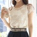 Новое Лето женщины шифон рубашка кружева топ бисера вышивка блузка Моды Случайные Короткий Рукав рубашки женские camisas femininas G1063