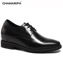 CHAMARIPA Increase Height 9cm/3.54 inch Elevator Shoe High Heel Men Dress Shoes Black Getlemen Hidden Height Increasing