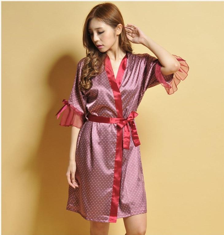 Women Sleepwear Nightwear Kimono Robe Polka Dot Spring Summer Sexy Silk Bathrobe Belt Elegant Bathroom Spa Robe Leisure Homewear