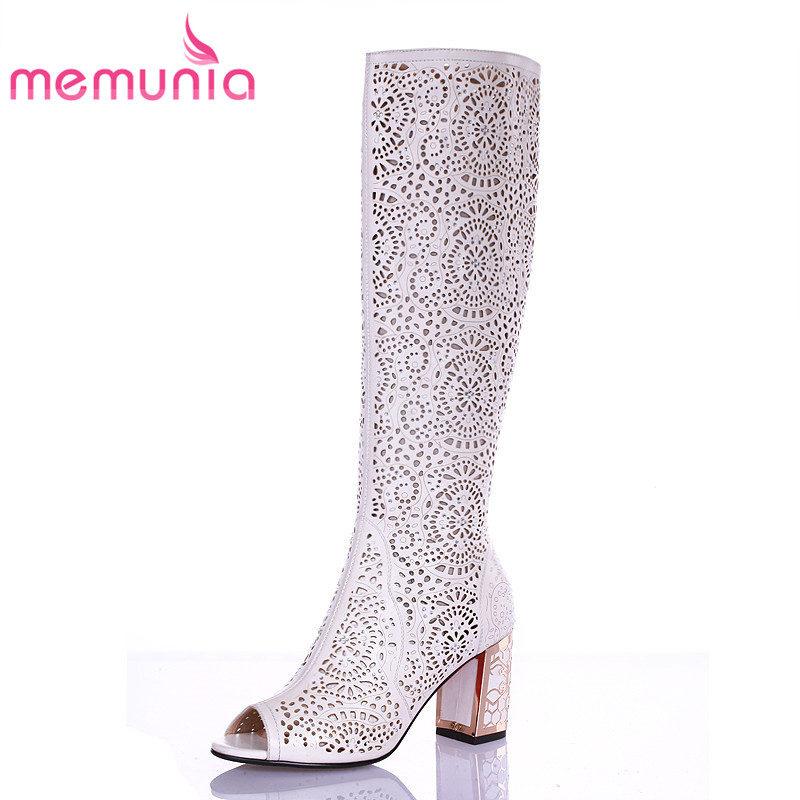 ФОТО MEMUNIA High quality summer boots peep toe thick high heels knee high boots sexy women sandals