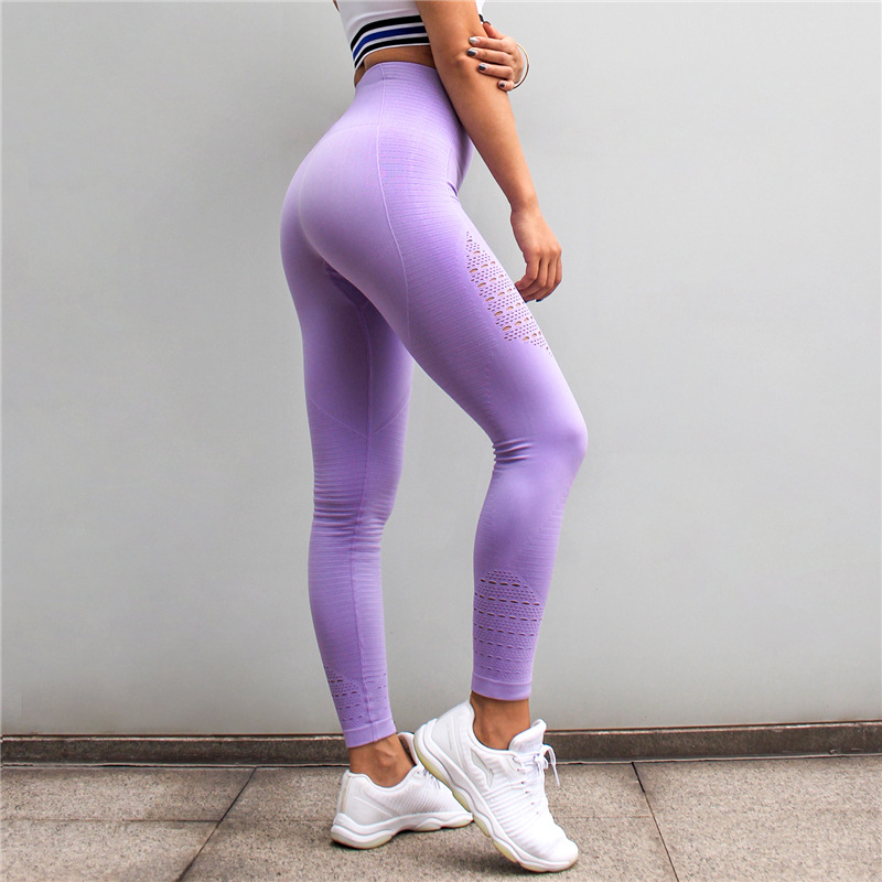 все цены на Womens Slim Stretch Gym Tights Energy Seamless Tummy Control Workout Yoga Pants High Waist Sport Leggings Purple Running Pants онлайн