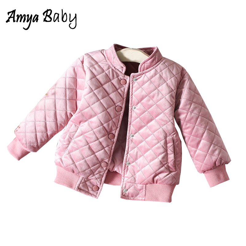 Amya Baby Girls Jackets And Coats Pink Cotton Warm Kids
