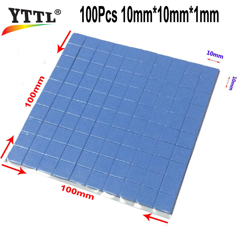 100 pcs Blue 10mm*10mm*1mm 3.2W/mK GPU CPU Heatsink Cooling Conductive Silicone Pad Thermal Pad