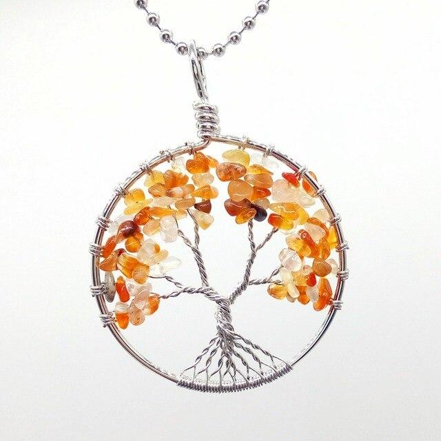 Runde Regenbogen Baum des Lebens Halskette Draht Gewickelt Reiki ...