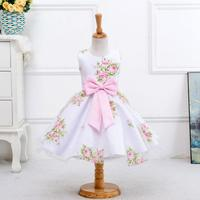 Retail New Style Summer Girl Printed Flower Girl Dress For Wedding Girls Party Dress With Bow