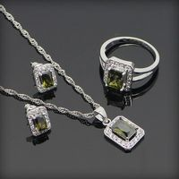 Square Yellow Topaz 925 Sterling Silver Jewelry Sets For Women Silver Earrings Ring Pendant Necklace Ladies