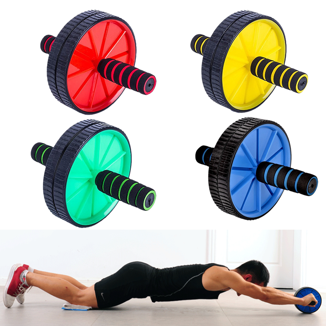 Professional Double-wheeled Updated Ab Abdominal Press Wheel Rollers Crossfit Gym Exercise Equipment For Body Building Fitness
