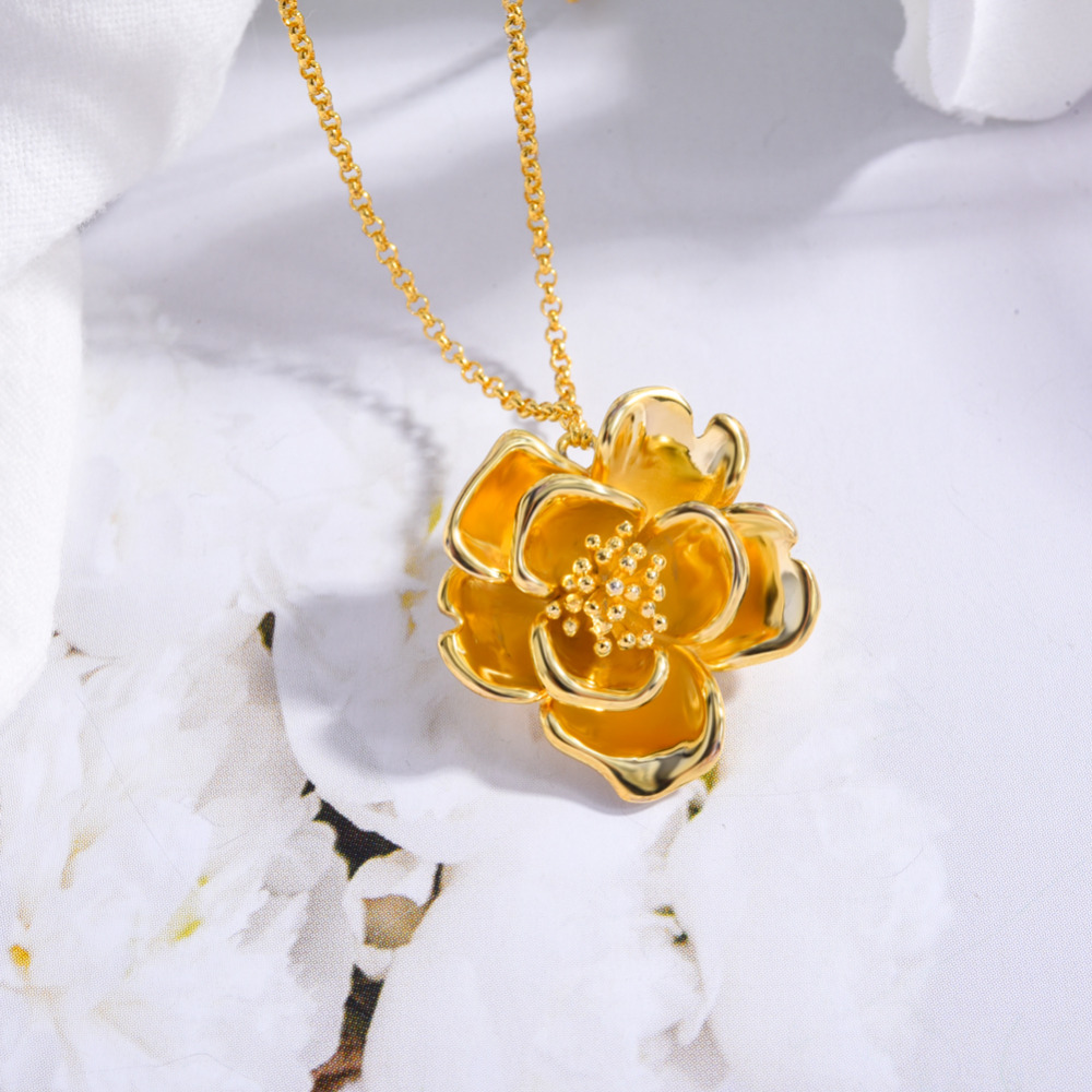 TGNEL S925 Sterling Silver Necklace Pendants Gold Color Flower Sweater Chain Fine Jewelry Beauty Choker for Women Wedding